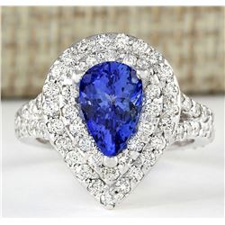 2.53 CTW Natural Blue Tanzanite And Diamond Ring 18K Solid White Gold