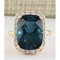 14.46 CTW Natural London Blue Topaz And Diamond Ring In 18K Rose Gold