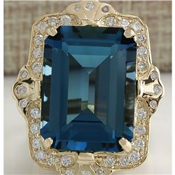19.53 CTW Natural London Blue Topaz And Diamond Ring 18K Solid Yello Gold