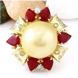 15.15 mm Gold South Sea Pearl, Ruby 14K Solid Yellow Gold Diamond Ring