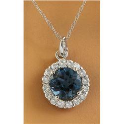1.82 CTW Topaz 18K White Gold Diamond Necklace