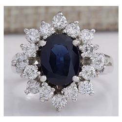 3.00 CTW Natural Blue Sapphire And Diamond Ring 18K Solid White Gold