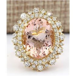 10.15 CTW Natural Morganite And Diamond Ring In 18K Solid Yellow Gold