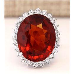 19.59 CTW Natural Hessonite Garnet And Diamond Ring In 14k White Gold
