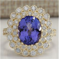 5.42 CTW Natural Blue Tanzanite And Diamond Ring In 18K Yellow Gold