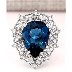 8.84 CTW Natural London Blue Topaz And Diamond Ring In18K Solid White Gold