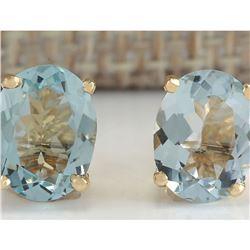 3.00 CTW Natural Blue Aquamarine Earrings In 14K Yellow Gold