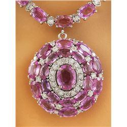 37.80 CTW Sapphire 14K White Gold Diamond Necklace