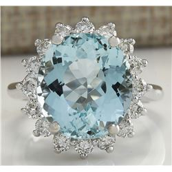8.94 CTW Natural Aquamarine And Diamond Ring In 18K Solid White Gold
