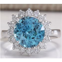 5.72 CTW Natural Zircon And Diamond Ring 14K Solid White Gold