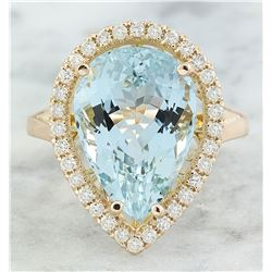 9.23 CTW Aquamarine 18K Rose Gold Diamond Ring