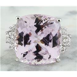 23.75 CTW Kunzite 14K White Gold Diamond Ring