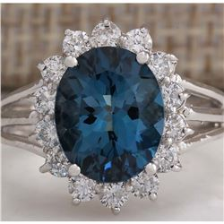 4.37CTW Natural London Blue Topaz And Diamond Ring In14K Solid White Gold