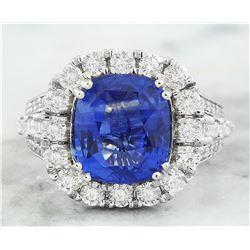 6.88 CTW Sapphire 18K White Gold Diamond Ring