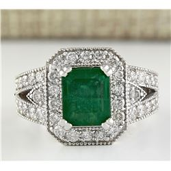4.21 CTW Natural Colombian Emerald And Diamond Ring In 18K White Gold