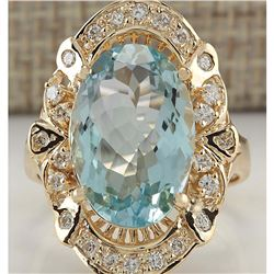 6.43 CTW Natural Blue Aquamarine And Diamond Ring 14K Solid Yellow Gold
