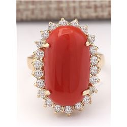9.07 CTW Natural Coral And Diamond Ring In 18K Yellow Gold