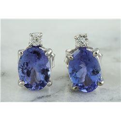 3.26 CTW Tanzanite 18K White Gold Diamond Earrings