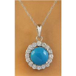 1.82 CTW Turquoise 14K White Gold Diamond Necklace