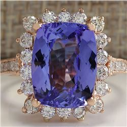 6.89 CTW Natural Blue Tanzanite And Diamond Ring 18K Solid Rose Gold