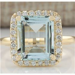 4.30 CTW Natural Blue Aquamarine And Diamond Ring In 18K Yellow Gold