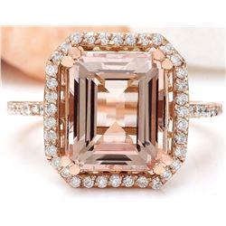 5.52 CTW Natural Morganite 18K Solid Rose Gold Diamond Ring