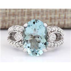 6.02 CTW Natural Aquamarine And Diamond Ring In 18K White Gold