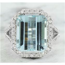 10.30 CTW Aquamarine 14K White Gold Diamond Ring
