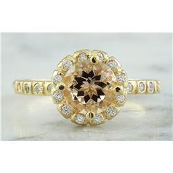 1.24 CTW Morganite 14K Yellow Gold Diamond Ring
