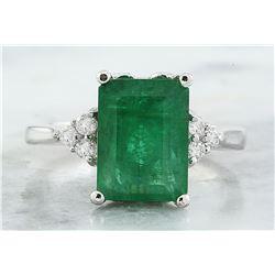 3.55 CTW Emerald 18K White Gold Diamond Ring