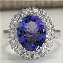 4.88 CTW Natural Blue Tanzanite And Diamond Ring 18K Solid White Gold