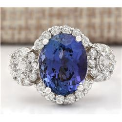 5.32 CTW Natural Blue Tanzanite And Diamond Ring 18K Solid White Gold