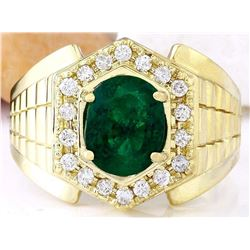 3.45 CTW Natural Emerald 14K Solid Yellow Gold Diamond Ring