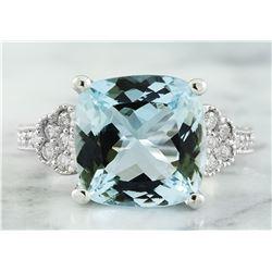6.45 CTW Aquamarine 14K White Gold Diamond Ring