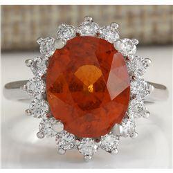 9.26 CTW Natural Mandarin Garnet And Diamond Ring In18K White Gold