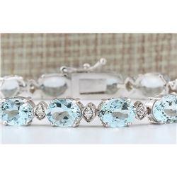 25.755 CTW Natural Aquamarine Diamond Bracelet In 18K Solid White Gold