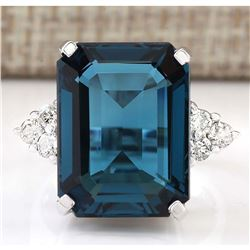 13.04 CTW Natural London Blue Topaz And Diamond Ring In18K Solid White Gold