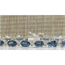 12.15 CTW Natural Sapphire And Diamond Bracelet In 14K Solid White Gold