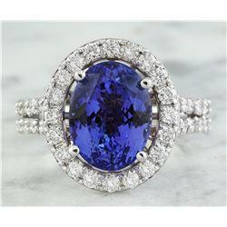6.63 CTW Tanzanite 18K White Gold Diamond ring