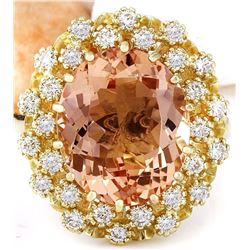 7.92 CTW Natural Morganite 18K Solid Yellow Gold Diamond Ring