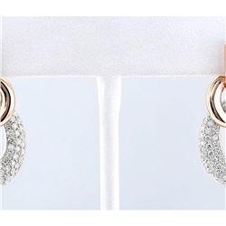 5.62 CTW Natural Diamond Earrings 14k Solid Multi-tone Gold
