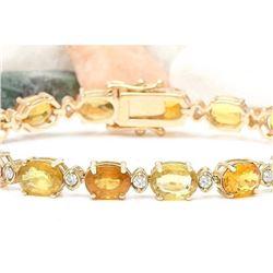 30.65 CTW Natural Sapphire 14K Solid Yellow Gold Diamond Bracelet