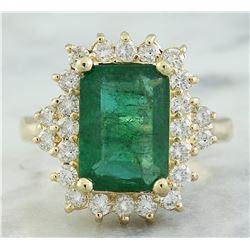 3.72 CTW Emerald 14K Yellow Gold Diamond Ring