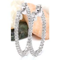 1.75 CTW Natural Diamond 18K Solid White Gold Earrings