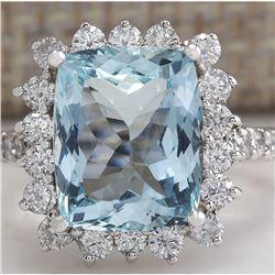 6.01 CTW Natural Aquamarine And Diamond Ring In 18K White Gold