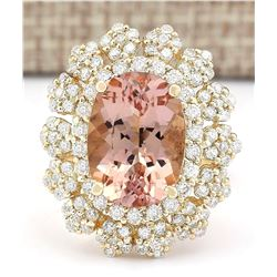7.51 CTW Natural Morganite And Diamond Ring In 18K Solid Yellow Gold