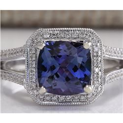 3.67 CTW Natural Blue Tanzanite And Diamond Ring In 18K Solid White Gold