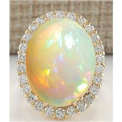 15.88 CTW Natural Opal And Diamond Ring 14K Solid Yellow Gold