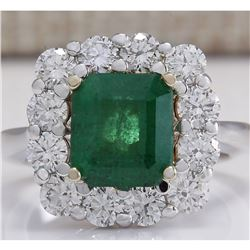 4.95 CTW Natural Emerald And Diamond Ring 14K Solid White Gold