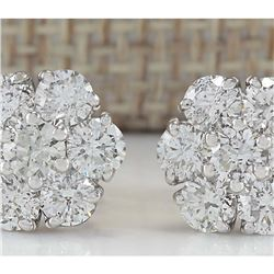 2.80 CTW Natural Diamond Earrings 14K Solid White Gold